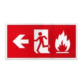 Omino e fiamma su rosso sx