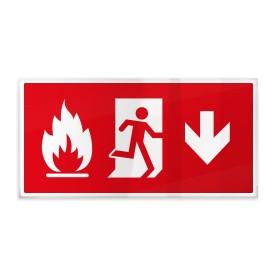 Omino e fiamma su rosso giù