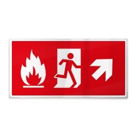 Omino e fiamma su rosso dx sù