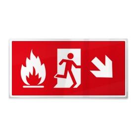 Omino e fiamma su rosso dx giù