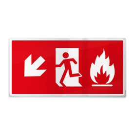 Omino e fiamma su rosso sx giù