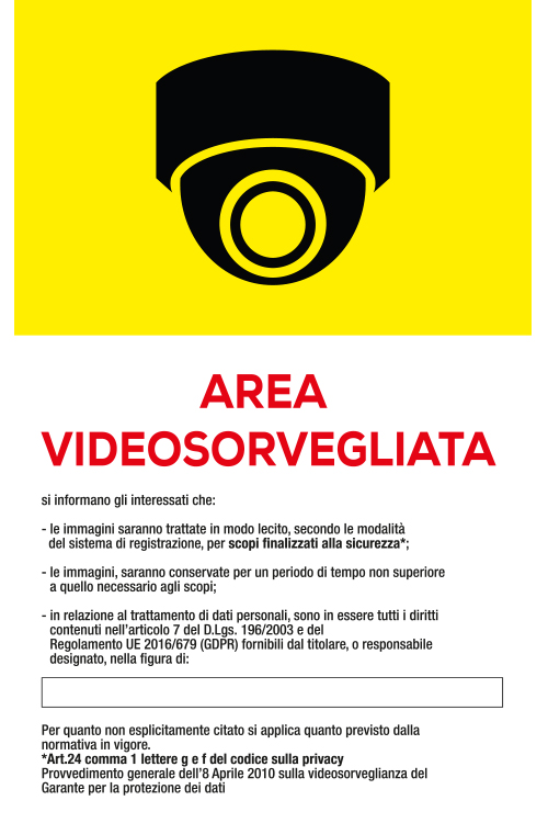Area video sorvegliata bianca